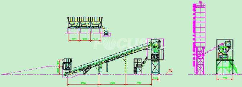 HZS60 Concrete Batching Plant CAD Picture 1