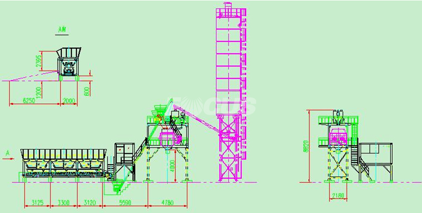 CAD 1 of HZS50 concrete batching plant