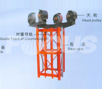 Guide Track Mast Section with Counterweight and Head Pulley Frame